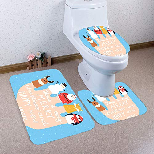 PUZ Life Christmas Toilet Seat Cover Set Christmas Bathroom Rugs Bath Mat Set Non-Slip Santa Toilet Tank & Lid Cover Christmas Bathroom Decoration Snowman Elk Christmas Novelty Gifts CSD-1 ()