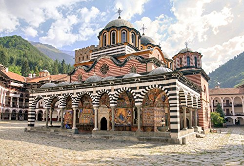 Striped Dome - Leyiyi 10x6.5ft Rila Monastery Bulgaria European Landmark Backdrop Sunny Old Striped Dome Built Structure Building Summer Autumn Journey Fashion Youngster Boy Band Girl Adult Artistic Portrait