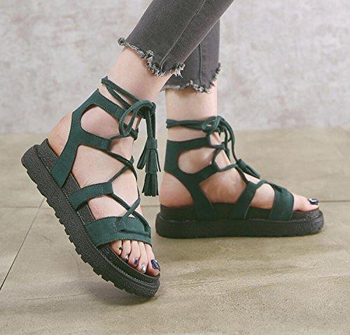Taille Femmes Épais Réglables Abricot 34 Confortables Chaussures Grande Semelles Vert Filles Pantoufles Sandales Green Noir 43 D'Été Dentelle DANDANJIE 4dq7wq