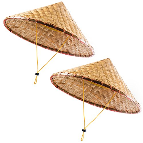 Coolie Hats - Asian Hat - Rice Patty Hat - Chinese Bamboo Hat - (Pack of 2) Funny Party Hats -