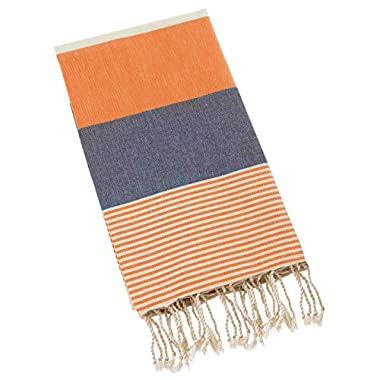 Swan Comfort 100% Natural Turkish Cotton Absorbent Beach Towel, Easy Care ideal for Bath Spa Fitness Yoga Pool Yatch Swimwear Guest Gym - Orange - Navy Blue