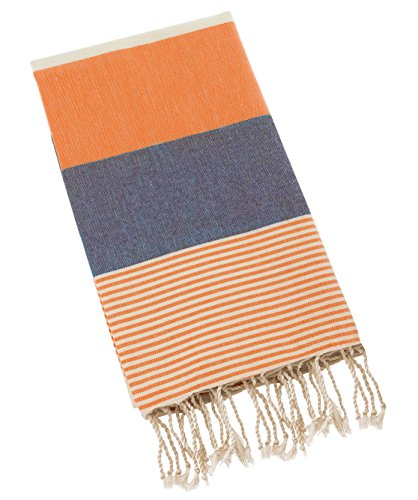 Swan Comfort 100% Natural Turkish Cotton Absorbent Beach Towel, Easy Care ideal for Bath Spa Fitness Yoga Pool Yatch Swimwear Guest Gym - Orange - Navy - And Orange Navy Blue