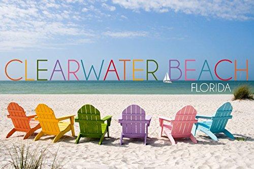 Clearwater Beach - Florida - Colorful Beach Chairs (12x18 Art Print, Wall Decor Travel Poster) ()