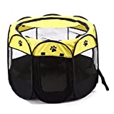 TWell 28.4 inch Indoor Outdoor Dog Cat Playpen/Portable Puppy Pet Exercise Pen/Soft Folding Crate Kennel Tent with Zipper (Yellow)
