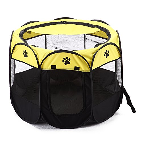 Pet Portable Playpen,Lonni Foldable Pets Fence Octagon 600D Oxford Cloth Tent with Cover Indoor&Outdoor Washable Dog Cage for Cats Puppy Small Dogs Animals by Lonni (Image #1)