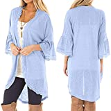 Clearance Women's Shirt Cinsanong Casual Cardigan Loose 3/4 Bell Sleeve Blouse Tops Lace Kimono Clothing