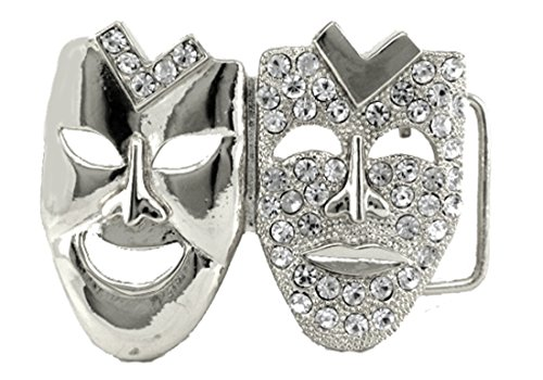- HIP HOP BLING ICED OUT Silver Tone Drama Face Laugh now Cry Later BELT BUCKLE