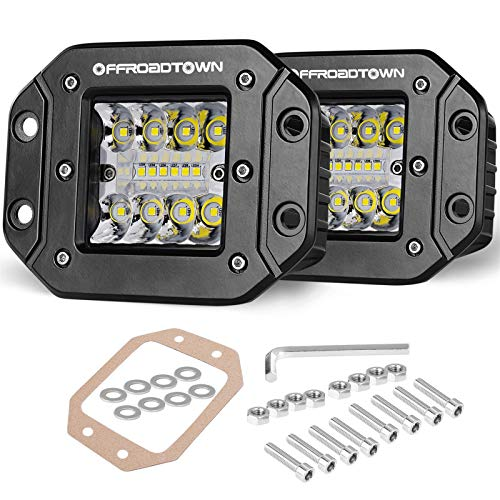 Flush Mount LED Pods, OFFROADTOWN 2pcs 5'' 78W Driving Lights LED Work Light Flush LED Light Bar Super Bright Fog Lights Off Road Lights for Truck SUV Boat 4x4 Grill Mount