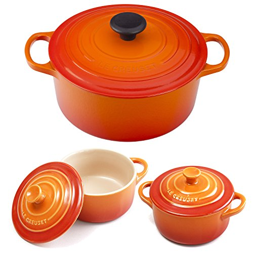 - Le Creuset Signature Flame Enameled Cast Iron 4.5 Quart Round French Oven with 2 Free Stoneware Cocottes