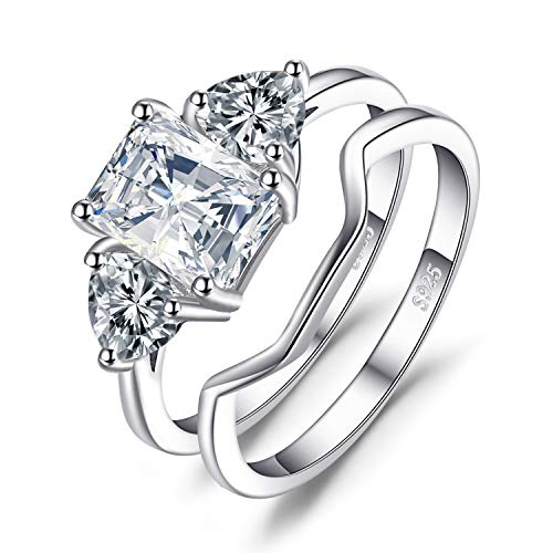 JewelryPalace Wedding Rings Bands Solitaire Engagement Rings for Women Anniversary Promise Ring Bridal Sets 1.3ct Emerald Cut 3 Stones Cubic Zirconia 925 Sterling Silver Ring Sets Size 7 ()