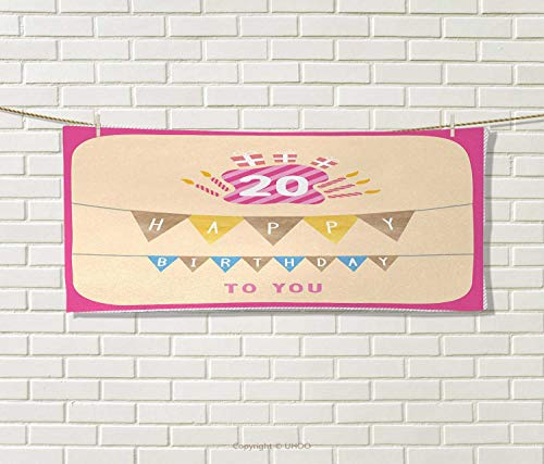 Anniutwo 20th Birthday,Hand Towel,Girly Party Themed Cartoon