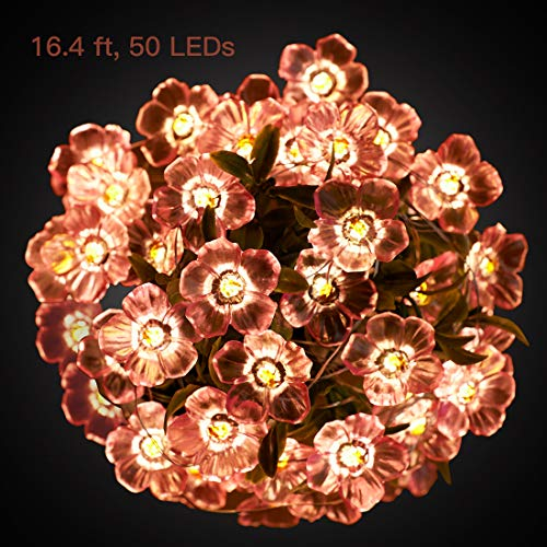 Flower String Lights 16 ft 50 LEDs Pink Cherry Blossom Indoor String Lights Battery Operated(Not Included) Warm White Waterproof Copper Wire String Lights Room Decorations Light For Baby Carriage