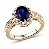 Lab Created Blue and White Sapphire Ring in 10k Yellow Gold