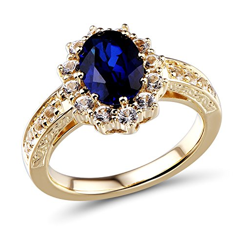 Lab Created Blue and White Sapphire Ring in 10k Yellow Gold-Size 8