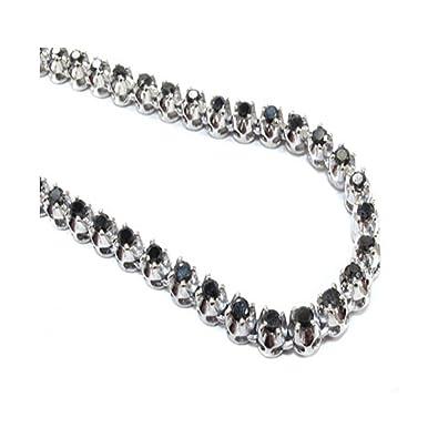 10K White Gold Genuine 1200 Cttw Carat Black Diamond 20 Inch Mens Hip Hop Style