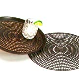 MD Group Tray Mat 12.5'' Round Thermoplastic Rubber Surface Dark Brown Anti-Skid