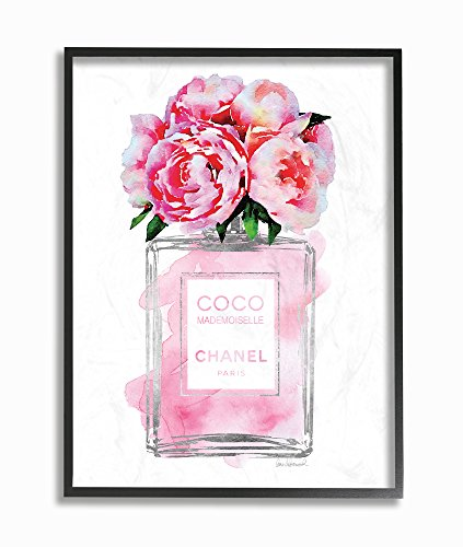 (Stupell Industries Glam Perfume Bottle V2 Flower Silver Pink Peony Framed Giclee Texturized Art, Proudly Made in USA)
