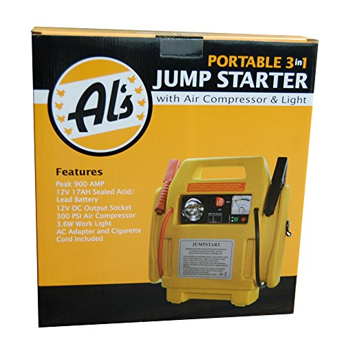 900 Peak Amp 12V Portable 3-in-1 Jump Starter with 300 PSI Air Compressor & Light, AC Adapter & Cigarette Cord Included, Portable Jump Starter, Power Booster, Car Jump Starter, Al's Liner ALS-JS1B