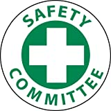NMC HH11 Hard Had Emblem Sign, ''SAFETY COMMITTEE'', 2'' Diameter x 2'' Height, Pressure Sensitive Vinyl, Green on White (Pack of 25)