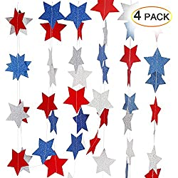 4th Of July Decorations,ThinkMax Red White Blue Star Streamers Independence Day Patriotic Party Supplies (4 Pack for 102 Stars)