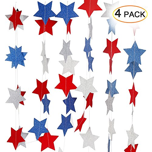 ThinkMax Red White Blue Star Streamers String Set Birthday Patriotic Party Supplies Decorations(4 Pack for 102 Stars )