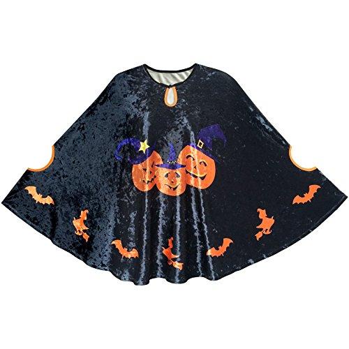 Halloween Cape Velvet Cloak Pumpkin Witch Bat Costumes Wizard Size 4-5