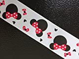 Polyester Grosgrain Ribbon for Decorations, Hairbows & Gift Wrap by Yame Home (1 1/2-in by 3-yds, Disney Minnie Mouse Bows)