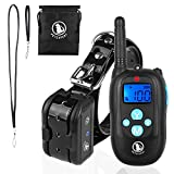 Training Dog Collar - PetExpert Dog Shock Collar with Leather Lanyard Remote 330yd Waterproof Rechargeable Dog Training Collar Electric Collar with Beep Vibration Shock&LED Light Dog Bark Collar for All Dogs(10Lbs-100Lbs)