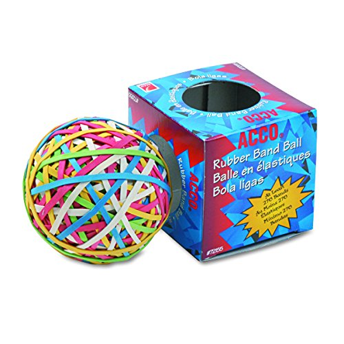 ACCO 72155 Rubber Band Ball, Approximately 275 Rubber Bands, Assorted Acco Rubber Band Ball