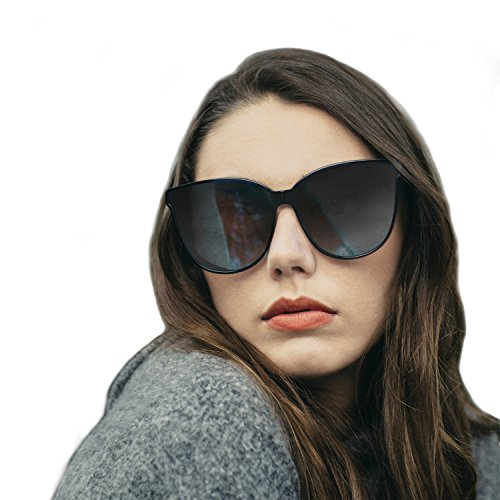 Polarized Oversized Frame 100% UV Protection Fashion Cateyes Style Sunglasses Eyewear for Women (Black, Black)
