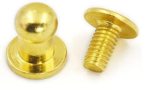 50 Sets 5mm 1//4 Head Button Brass Stud Screwback Screw Back Spots for Leather Rivet Bronze
