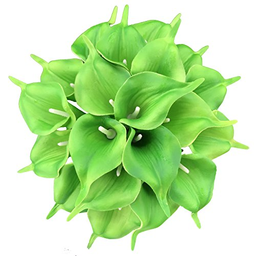 DALAMODA 20 pcs Calla Lily Bridal Wedding Bouquet Lataex Real Touch Artificial Flower Home Party Decor,Party/Wedding/Home/Business Decorate (Green #2)
