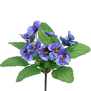 "10"" Silk Pansy Flower Bush -Blue (Pack of 36) 31"