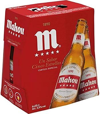 Mahou - 5 Estrellas Cerveza Dorada Lager, 5.5% de Volumen de Alcohol - Pack de 6 x 25 cl: Amazon.es: Alimentación y bebidas
