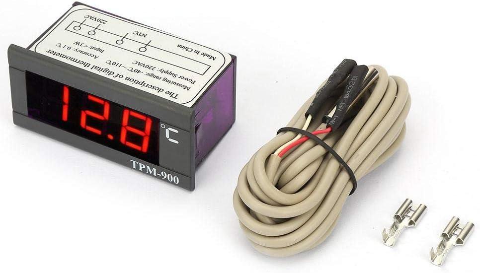 Pasamer TPM-900 Contr/ôleur de temp/érature num/érique 220V Indicateur de Panneau /à LED avec contr/ôleur de Thermostat /à capteur