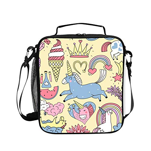 Levendem Premium Thermal Insulated Lunch Bag | School Unicorn Fairy Elements Doodle Set Lunch Box for Boys, Girls, Kids, Adults | Compact Lunch Pail for Office