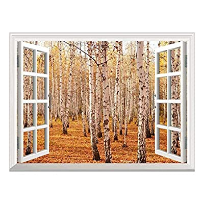 Handsome Handicraft, Classic Design, Removable Wall Sticker Wall Mural Autumn Birch Forest Creative Window View Wall Decor