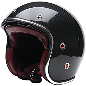 Motorcycle Open Face Carbon Fiber Helmet DOT Approved - YEMA YM-628 Motorbike Moped Jet Bobber Chopper Crash 3/4 Helmet with Sun Visor for Men Women Adult ...