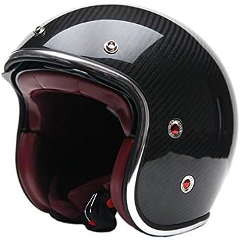 Motorcycle Open Face Carbon Fiber Helmet DOT Approved - YEMA YM-628 Motorbike Moped Jet Vespa Bobber Chopper Pilot Crash 3/4 Helmet with Sun Visor for Men Women Adult Street Bike Scooter Cruiser - XL