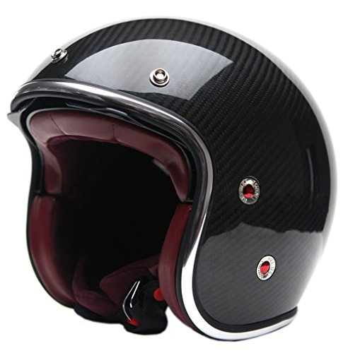 YEMA Helmet YM-628 Carbon 3/4 Open Face Helmet with Retractable Sun Shield+Free Riding Mask,X-Large ()