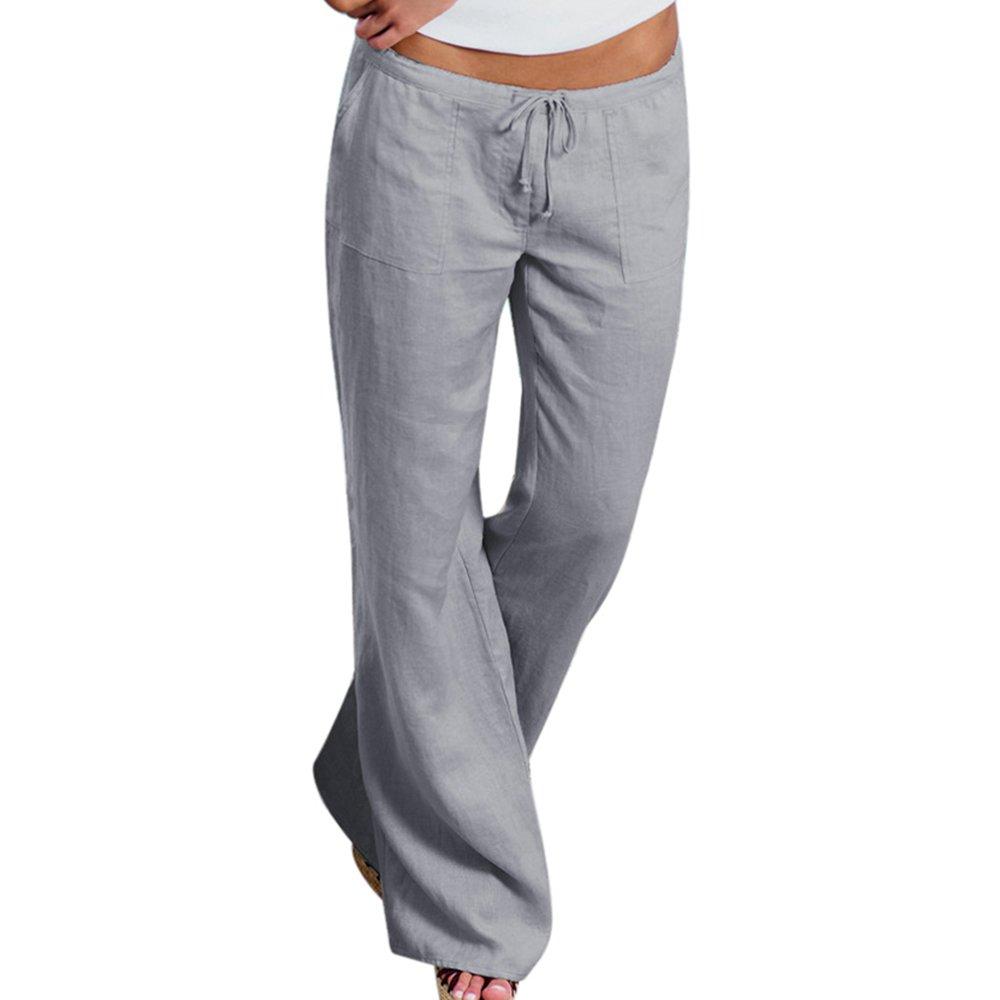 papasgjx Upgrade Women's Drawstring Wide Leg Pants Outdoor Soft Casual Elastic Waist Pants with Pockets (Grey, Tag XXL/US 12-14)