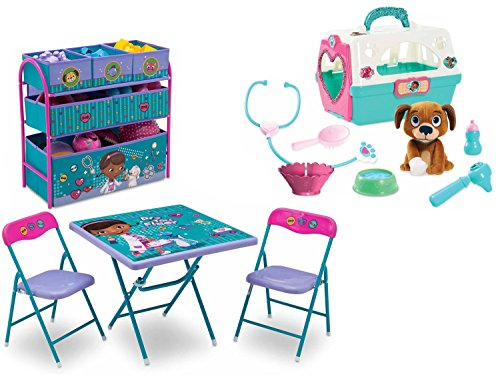 New  Disney Jr  Doc Mcstuffins Playroom Solution Set With Folding Activity Play Table And Chair Set With 6 Bins Toy Organizer Storage And Doc Mcstuffins Pet Vet On The Go Pet Carrier  Bundle