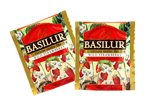Basilur | Wild Strawberry | Food Service Packs | Single Origin Green Tea with Wild Strawberry | 100% Pure Natural Green Tea | 100 Count Foil Enveloped Tea Bags | Pack of 100 from Basilur