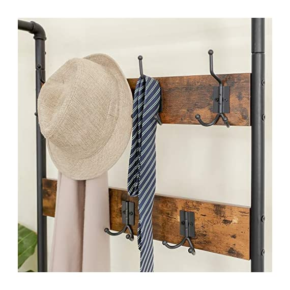 """VASAGLE URBENCE Hall Tree, Coat Rack Stand with Bench, Shoe Rack with 2 Mesh Shelves, Hallway, Living Room, Steel, Easy Assembly, Industrial Design, Rustic Brown UHSR37BX - OPPOSITES ATTRACT: Steel and engineered wood, rustic and industrial design, coat stand and shoe rack—this 26""""L x 12.8""""W x 72""""H hall tree is full of contrasts and yet ultimately forms a perfect unit STABILITY AT ITS BEST: We all know those wobbly coat racks that collapse when a coat is hung up. Thanks to the sturdy steel tubes, this coat rack always stands like a rock EVERYTHING ON THE HOOK: Your appointment starts in 20 minutes! It's a good thing that your jacket is hanging on one of the 7 hooks of this coat rack and your sneakers are standing on one of the two mesh shelves. Sit on the bench and quickly put on your shoes! - hall-trees, entryway-furniture-decor, entryway-laundry-room - 51VUbXLkqQL. SS570  -"""