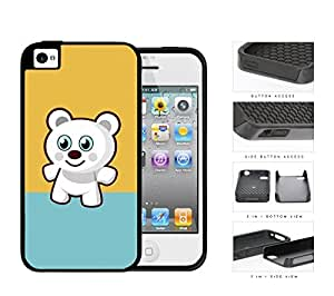 Cute White Teddy Bear with Teal and Mustard Yellow Blocks iPhone 4 4s 2-piece Dual Layer High Impact Black Silicone Cover