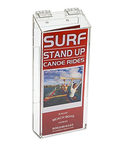 Source One Outdoor Brochure Holder 4 x 9 x 2 Inches Clear Acrylic Wall Mounting Literature Dispenser (S1-TRI-OUTD.)
