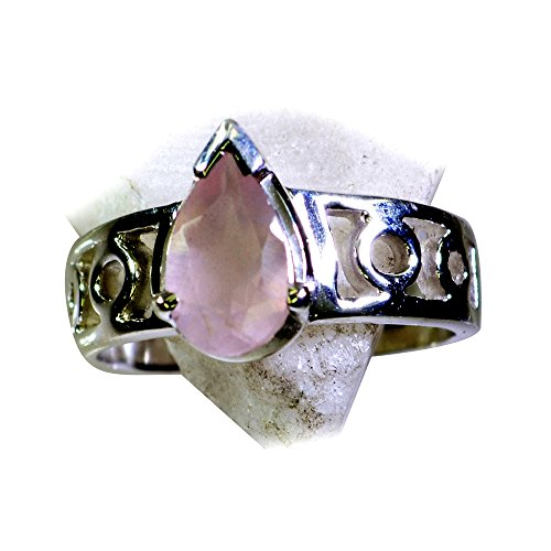 Jewelryonclick Prong Setting Real Rose Quartz Ring Silver Band Pink Pear Shape Available in Size 4-12 by Jewelryonclick (Image #1)