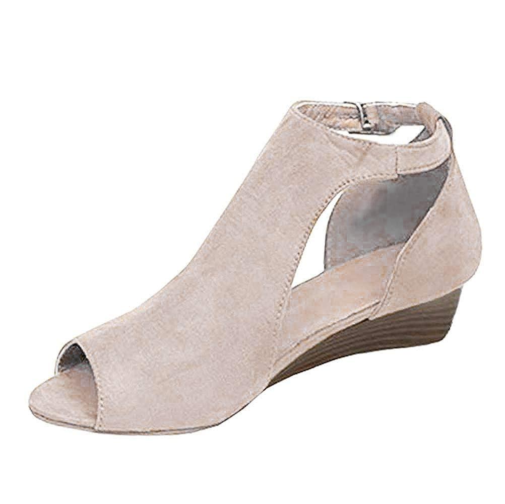 Minetom Sandali Donna Zeppa Tacco Open Toe Sexy Tacco Alto Shoes Eleganti Moda Casuale Shoes retrò Sandali Romani Pelle Scarpe Estive Grigio