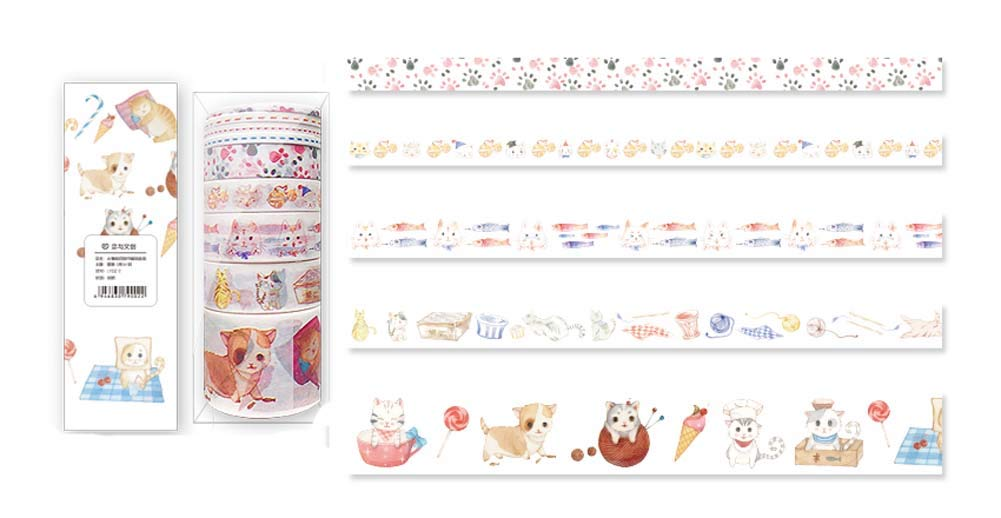 Set of 5 Animal Paper Tapes DIY Decorative Planner for Student/Girls