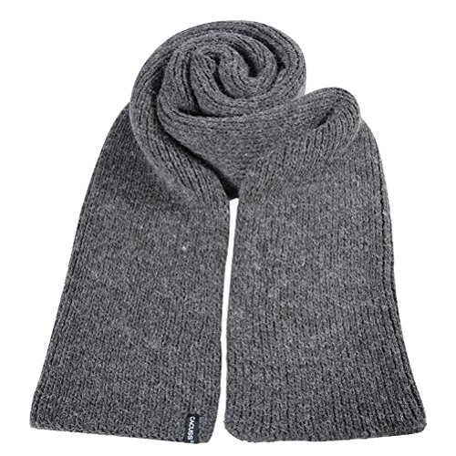 CACUSS Men's Solid Winter Scarf Long Knitted Neckwear Soft Warm Scarves(Gray) by CACUSS (Image #1)